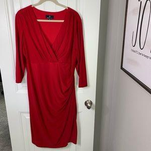 Ronni Nicole ruched v-neck long sleeve dress 20w